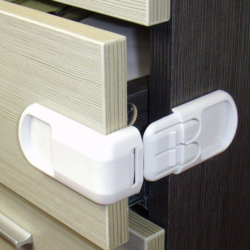 5 Packs Baby U Shape Safety Cabinet Locks Door Fridge Child White Drawer Plastic