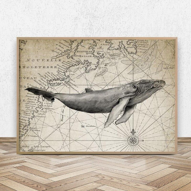 Humpback Whale Watercolor Painting Upon Map Background Print Vintage Poster Canvas Prints Picture Bathroom Wall Art Decor In 2020 Whale Wall Art Illustration Wall Art Bathroom Wall Art