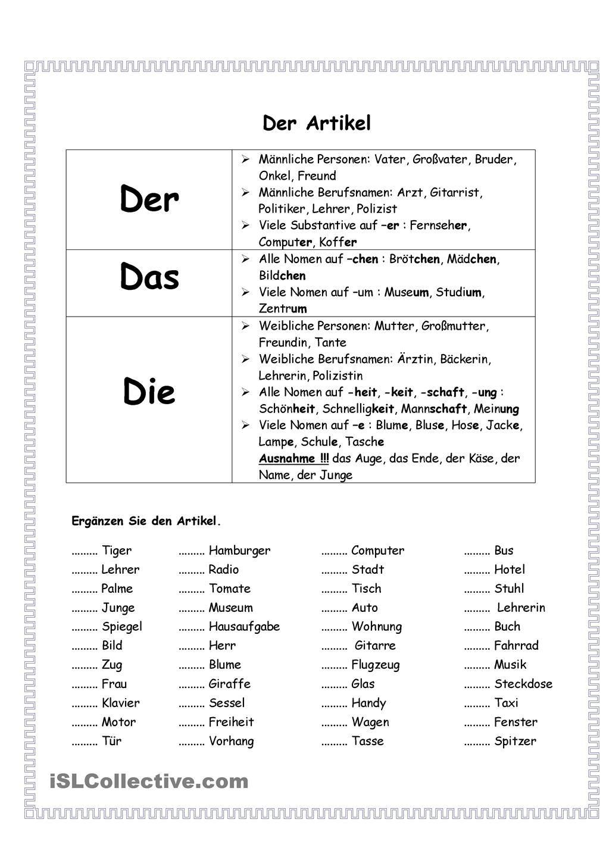 Artikel | Deutsch, Schule und Lernen