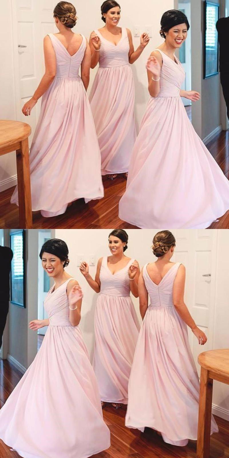 A Line Chiffon Plus Size Bridesmaid Dresses Light Pink Wedding Party Dresses Vestidos Dress Plus Size [ 1600 x 800 Pixel ]