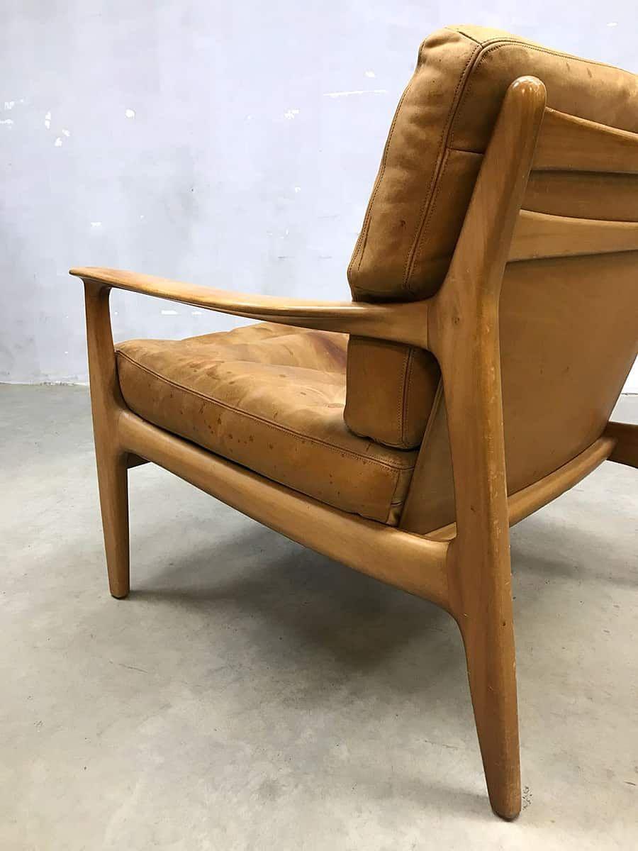Leren Lounge Fauteuil.Vintage Design Leren Lounge Stoel Fauteuil Armchair Leather