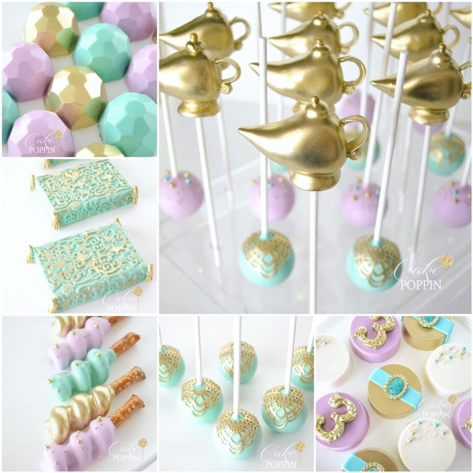 Cake Poppin Metallic Gem Cakes Pops Dipped Pretzels Pastel And Disney Princess PartyPrincess Jasmine WeddingAladdin