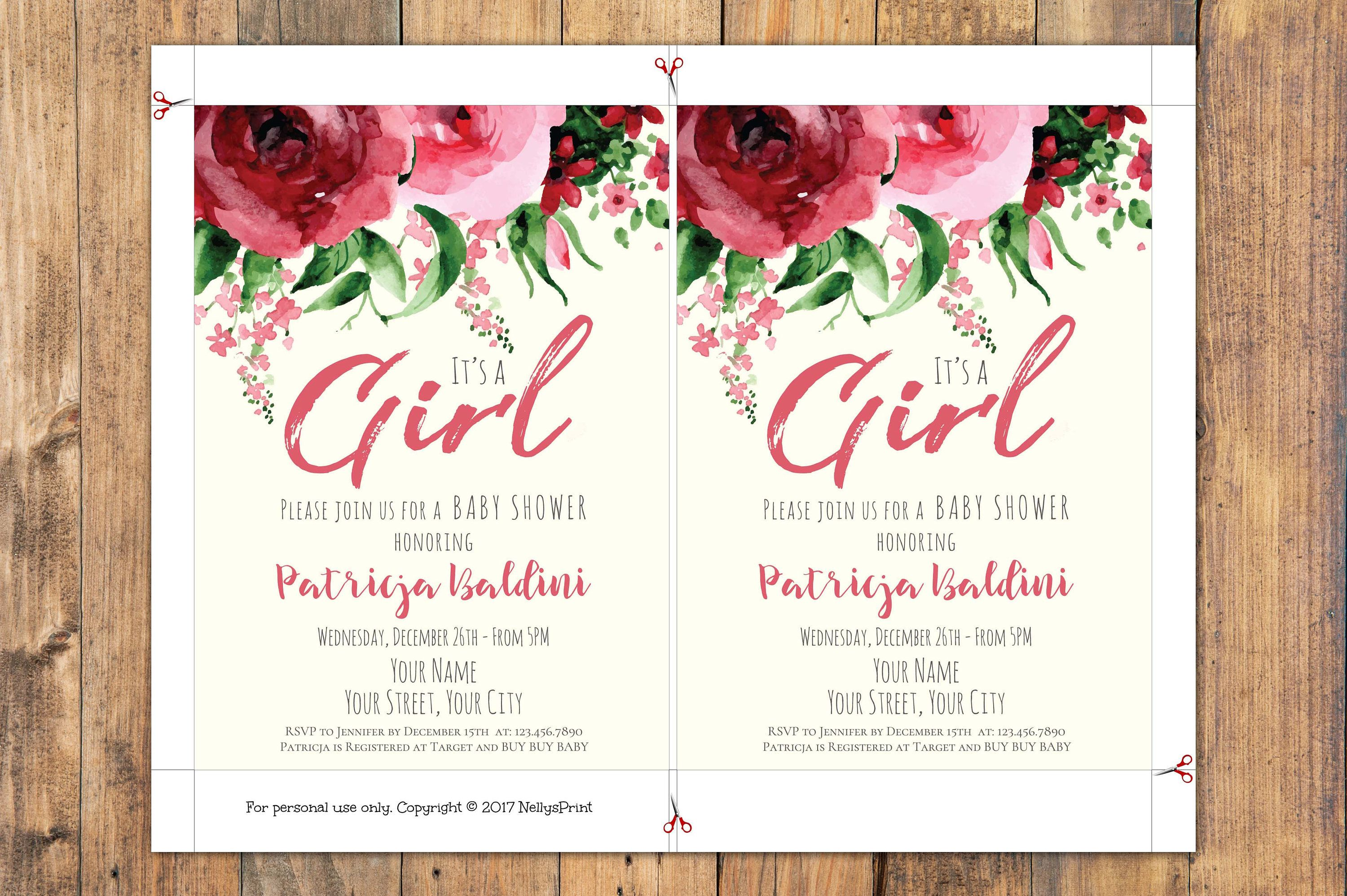 Baby Shower Invitation Girl Its A Girl Baby Shower Invitations