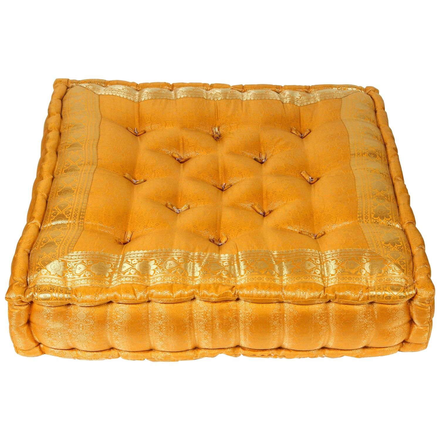 Moroccan Oversized Yellow And Gold Tufted Floor Pillow Cushion Floor Pillows Floor Seating Floor Cushions Living Room