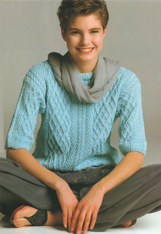 2f4c088dc6f2 Womens Sweater PDF Knitting Pattern   Short Sleeved . Jumper . Womens 30 -  32