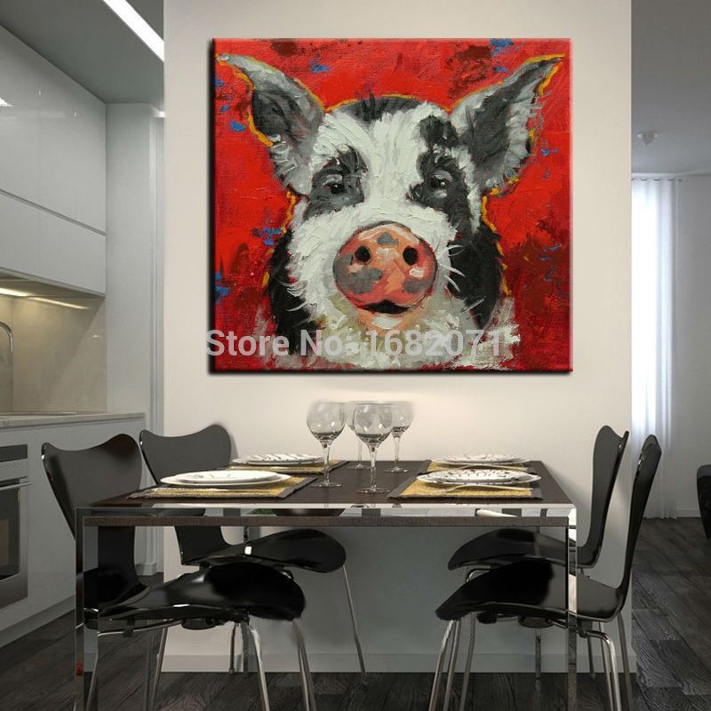 Cheapest Price Wholesale Abstract High Quality Pig Head Oil Painting On Canvas Kitchen Room Oil Painting