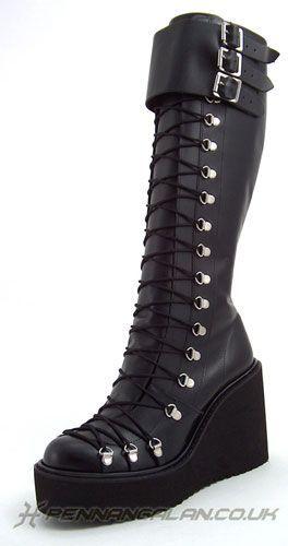 7da89871fcb Demonia Women's Damned-318 Knee High Boot - Black in 2019 | Goth ...