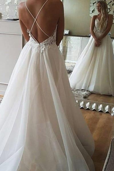 Vestidos de novia de playa sin espalda de encaje con tirantes finos de una línea baratos PW218  – Boda