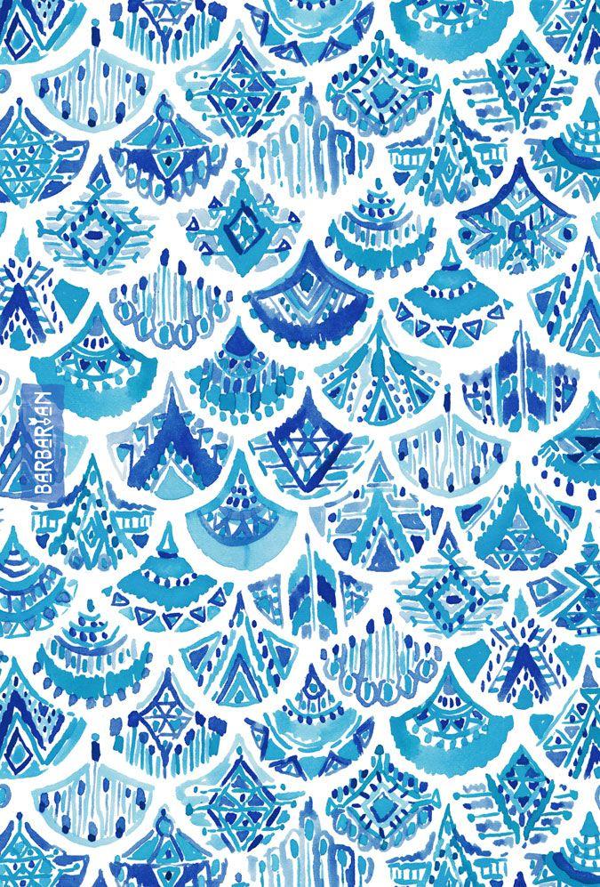 AZTEC MERMAID Tribal Scallop – BARBARIAN by Barbra Ignatiev | Bold colorful art