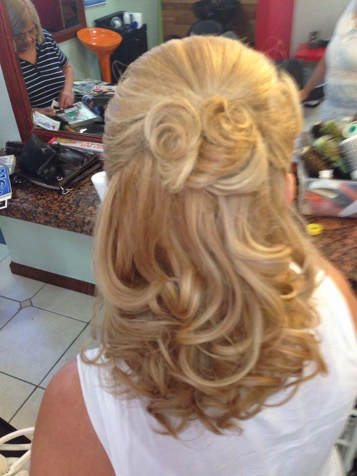 Mother of the bride hair. Half up half down. Medium length ...