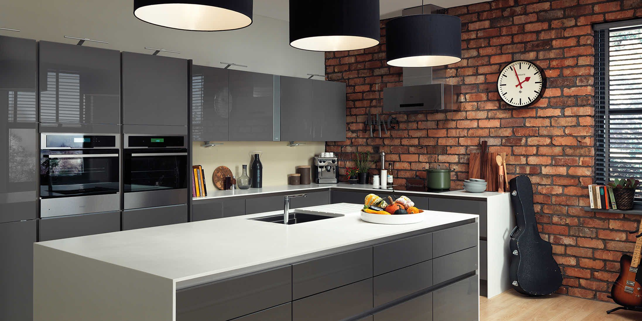 Grey kitchen modern kitchen london by lwk kitchens london - Exquisite Grey Kitchens Paint And Color Decoration Ideas Charming Drum Shade Pendant Kitchen Contemporarykitchen