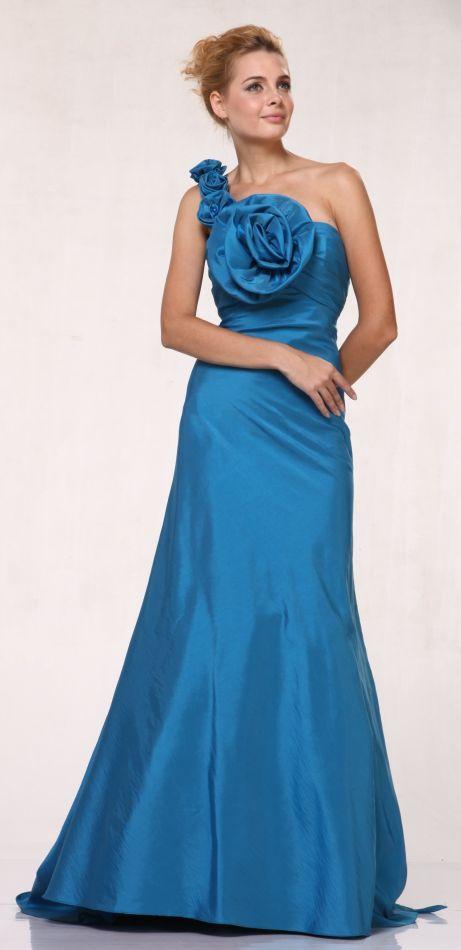 Long Indigo Blue Formal Evening Gown Taffeta Large Oversized Rose One Shoulder Small Train $177.99