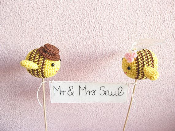 Bee Wedding Theme Mr And Mrs Cake Topper Ble By Cherrytime Crafts