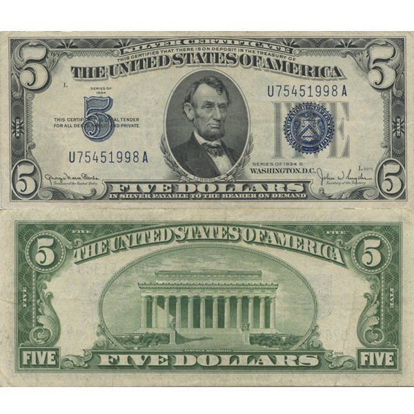 1934 5 Silver Certificate Blue Seal Note On Certificate And Coin