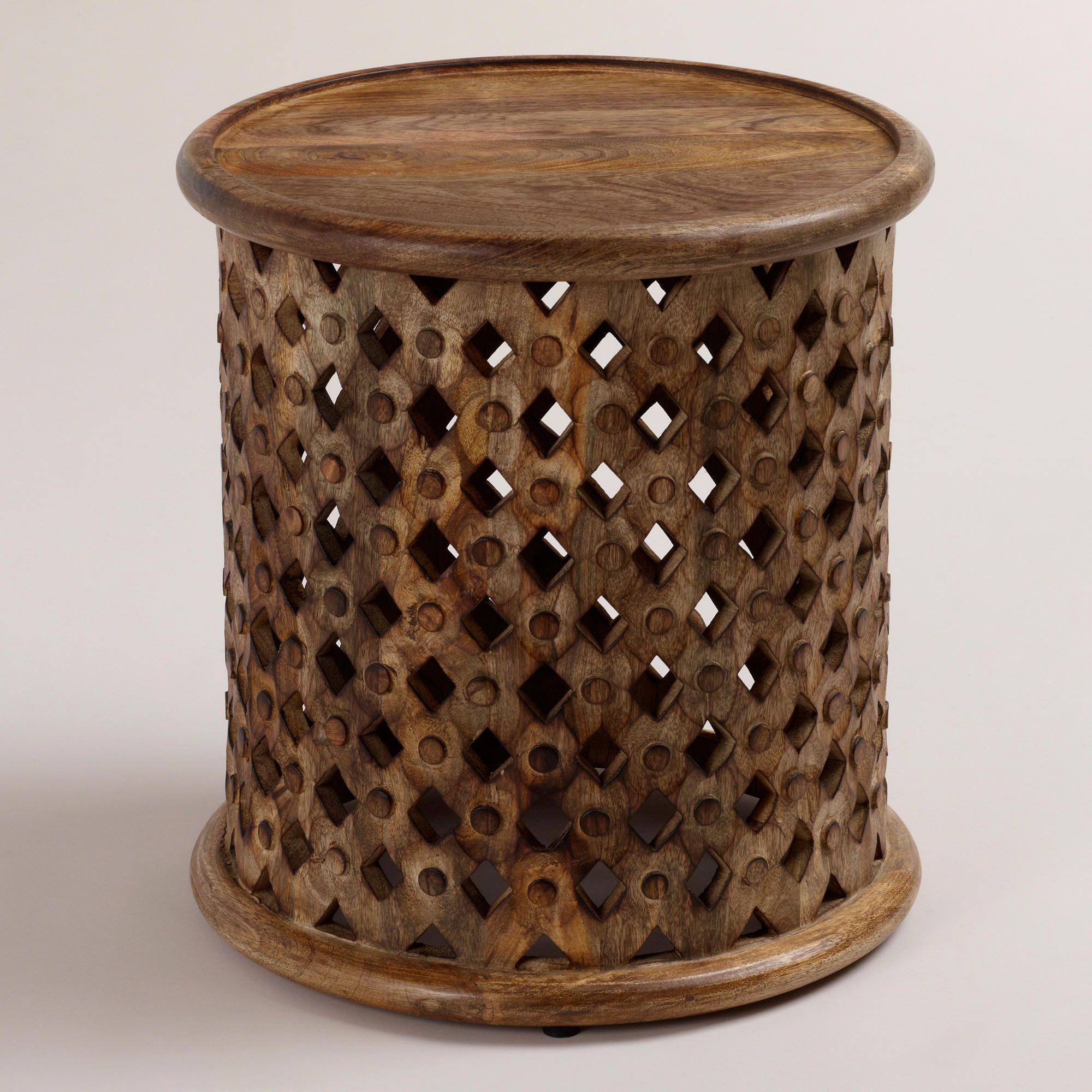 Tribal Carved Wood Accent Table With Images Wood Accent Table