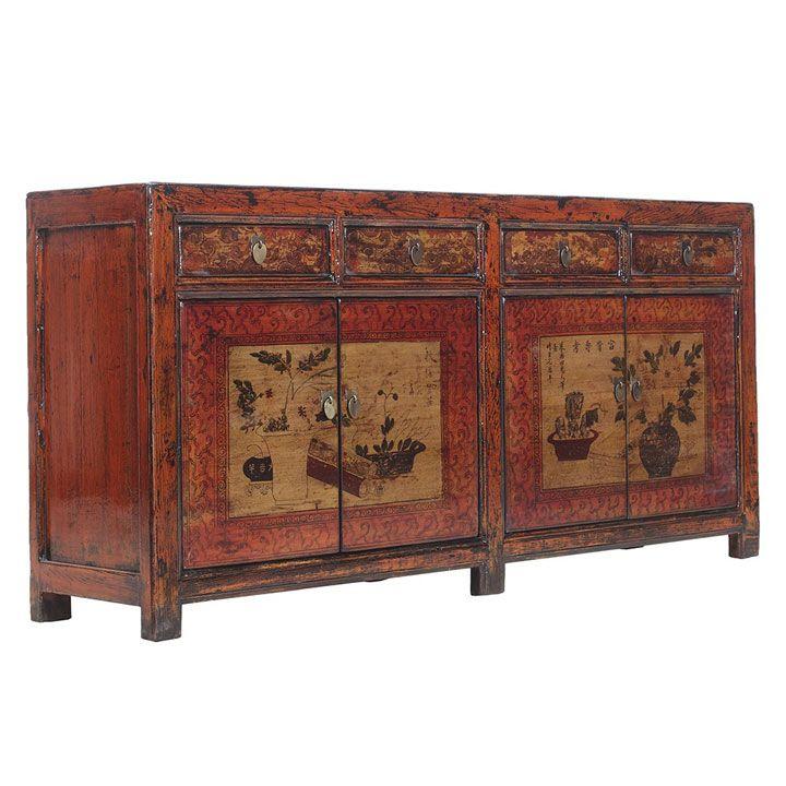 Painted Red Oriental Sideboard