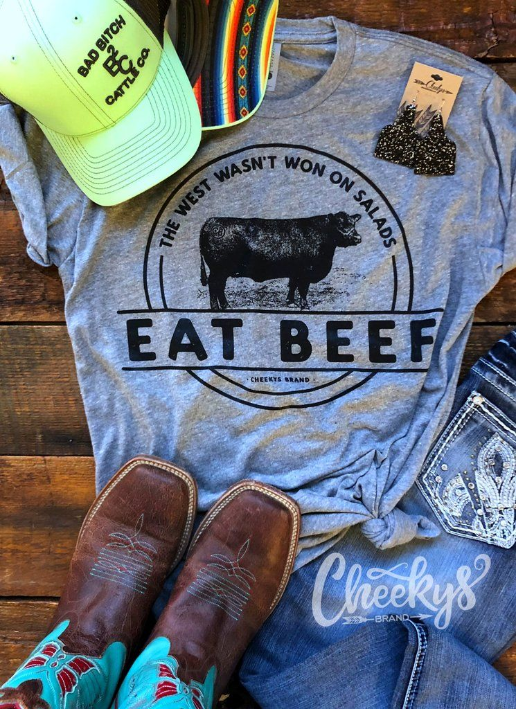Eat Beef Unisex Tee on Gravel Road