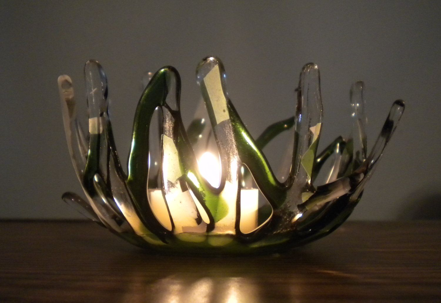 Green With Envy Fused Glass Candle Holder by ColleenGail on Etsy
