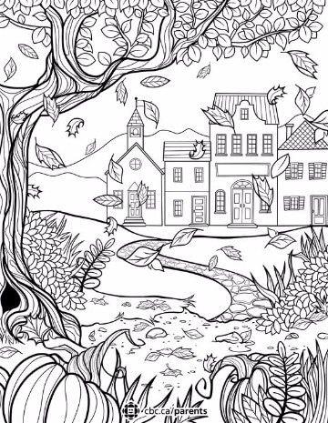 dibujos para colorear de otoño paisajes | Dibujos del medio