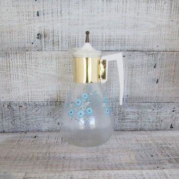 Carafe Mid Century Carafe with Blue and White Flowers Vintage Coffee Carafe Retro Juice Carafe Vintage Pitcher Atomic Glass Decanter Pyrex
