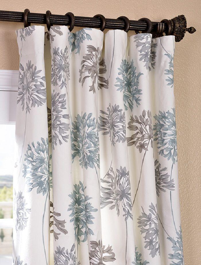 Blue Gray Curtains Blue Grey Curtains Brown Curtains Printed Cotton Curtain