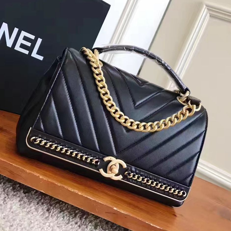 Chanel Chevron Lambskin Flap Bag With Top Handle A91845 Black 2017 Flapbagwithhandle Chanel Handbags Chanel Bag Sale Burberry Handbags