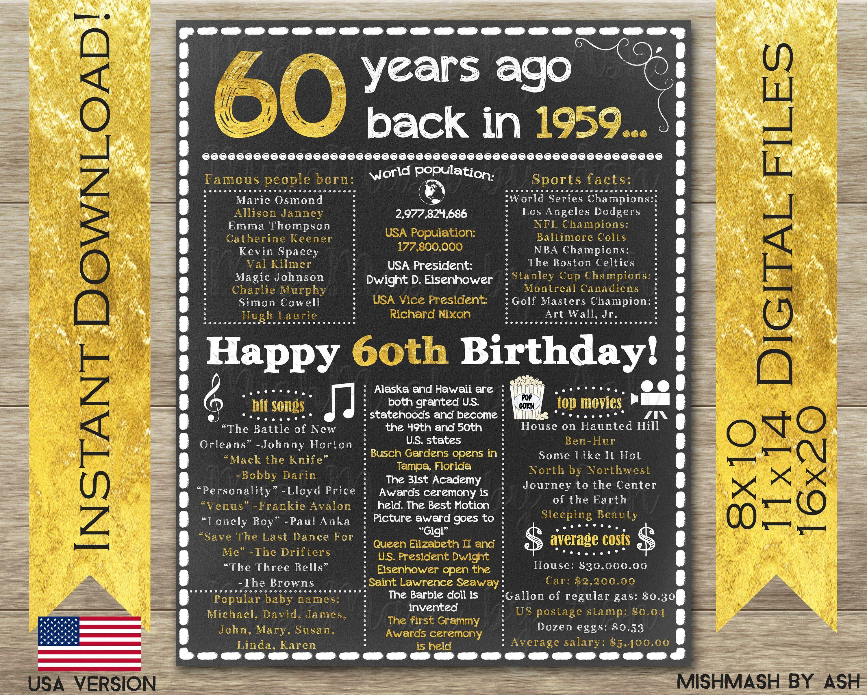 1959 birthday sign 60th birthday sign back in 1959 happy