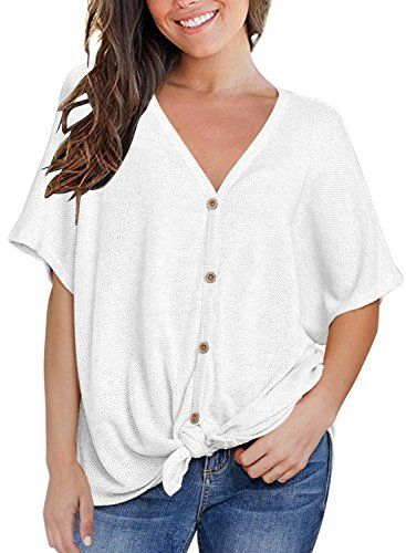 Image result for MIHOLL Womens Loose Blouse Short Sleeve V Neck Button Down T Shirts Tie Front Knot Casual Tops | The Best Bump-Friendly Amazon Finds featured Alabama blogger My Life Well Loved #maternity #pregnancy