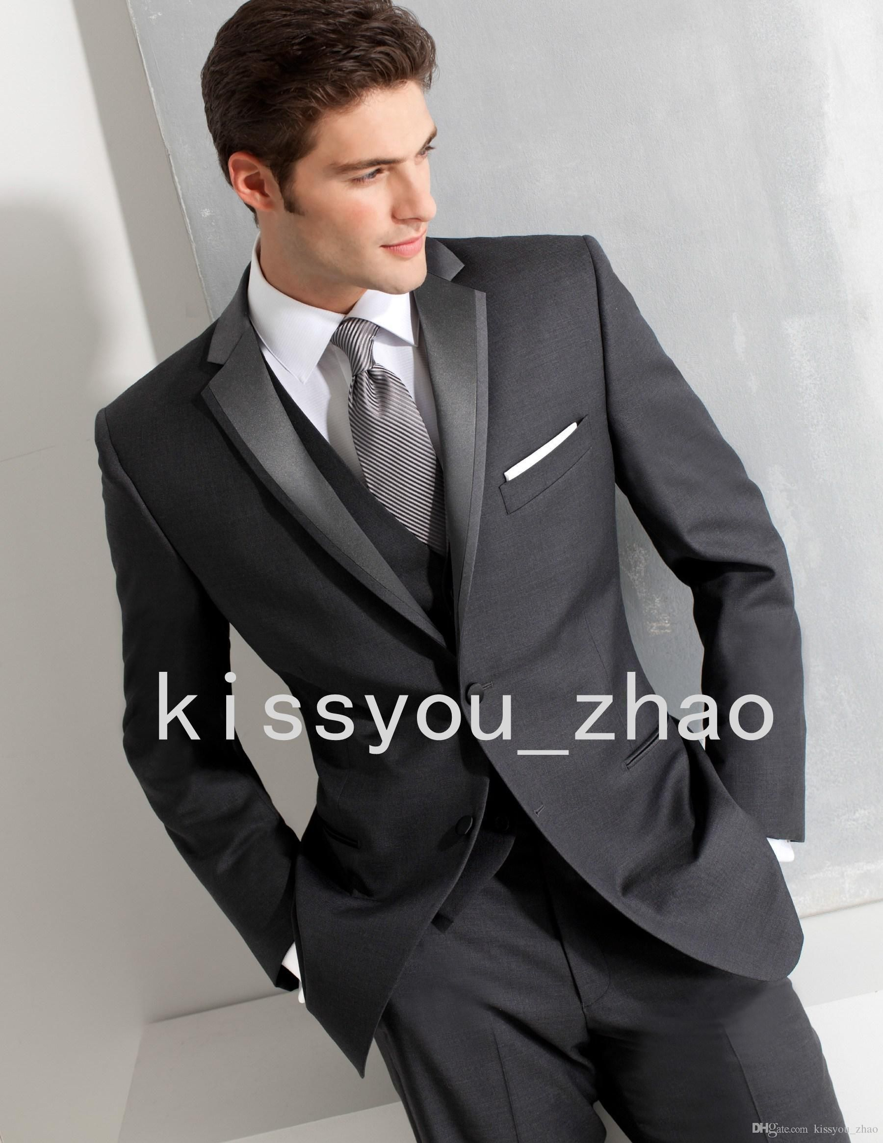Custom Made New Grey 3 Piece Suit Two-button Wool Wedding Suits ...