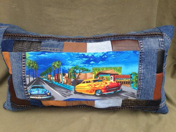 Items similar to Classic cars – Retro -Repurposed – 50's Style – Large Oblong OOAK Denim Pillow on Etsy