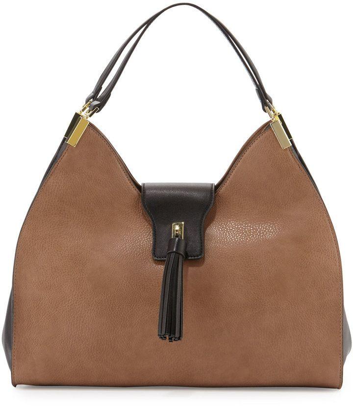 Neiman Marcus Tassel Tab Faux-Leather Hobo Bag, Taupe/Black