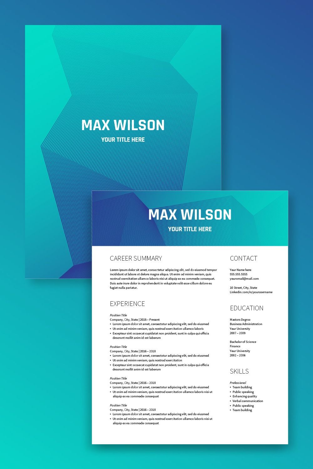 Futuristic and modern resume template for word and open