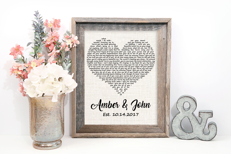Wedding Song Lyrics Art One year anniversary gifts, Year