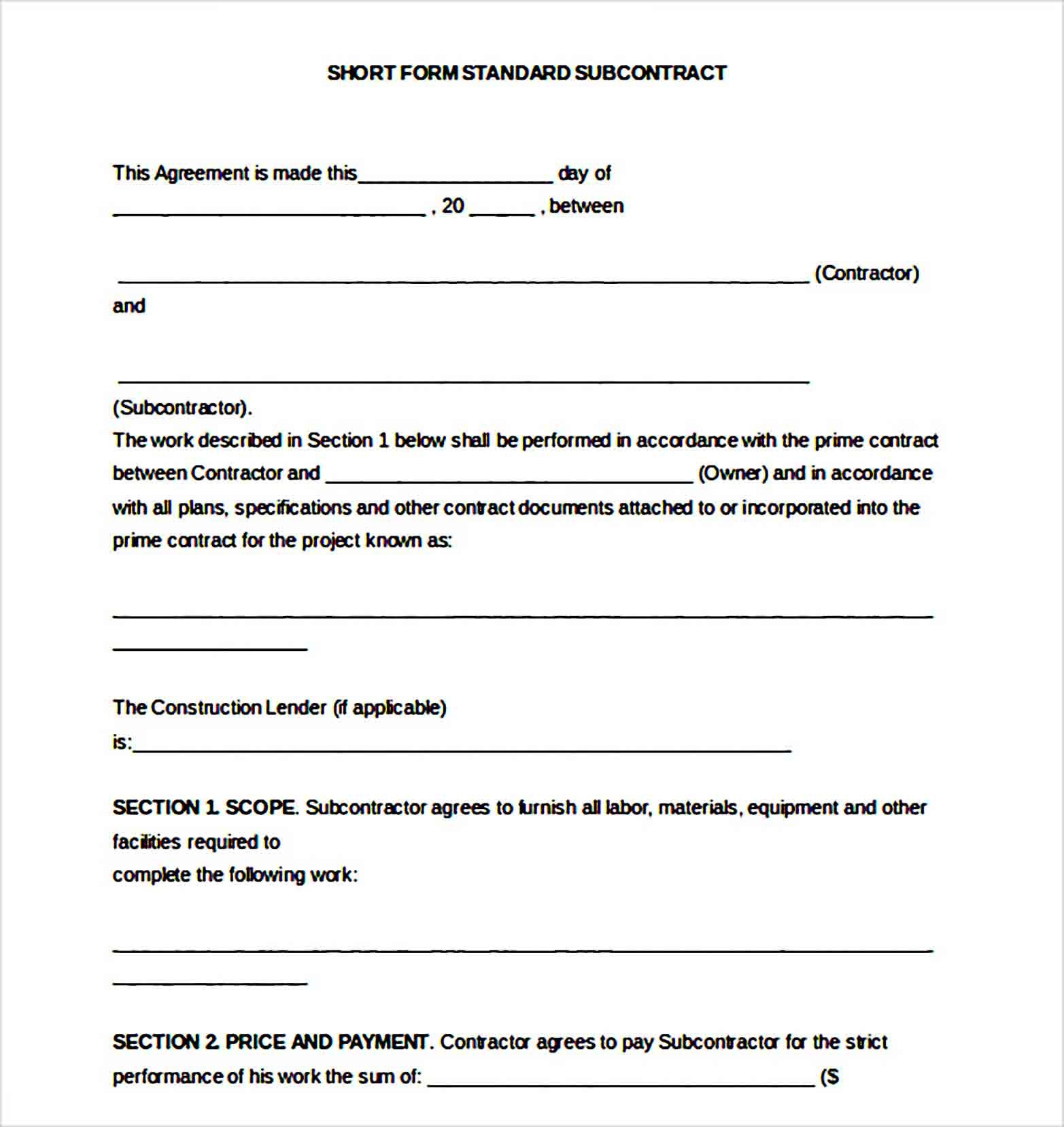 Sample Subcontractor Agreement Template Subcontractors Legal Contracts Templates