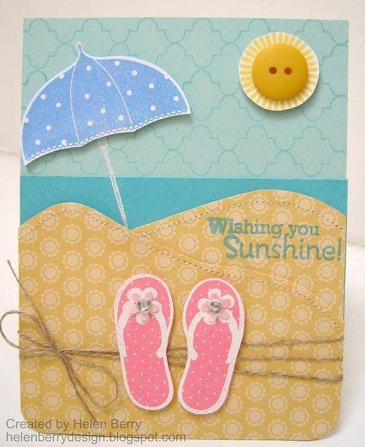 Diy Beach Theme Card With Images Umbrella Cards Flip Flop