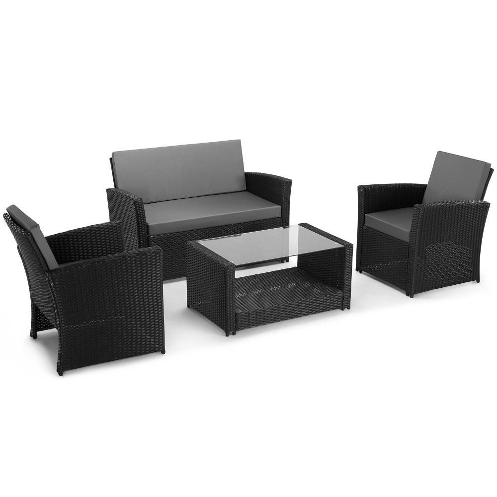Black rattan sofa set garden piece table patio conservatory