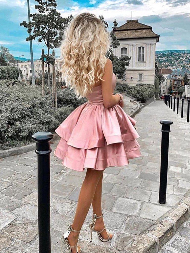 Cute Layered Pink Short Prom Dresses Satin One Shoulder Homecoming Dress Pink Formal Dre Long Sleeve Backless Dress Best Homecoming Dresses Pink Formal Dresses [ 1024 x 768 Pixel ]