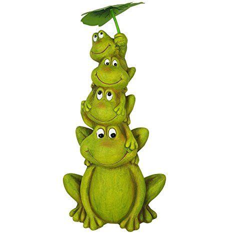 Gartenfrosch Deko Figur 50cm Garten-Figur Deko-Frosch Groß für den - solarleuchten garten antik
