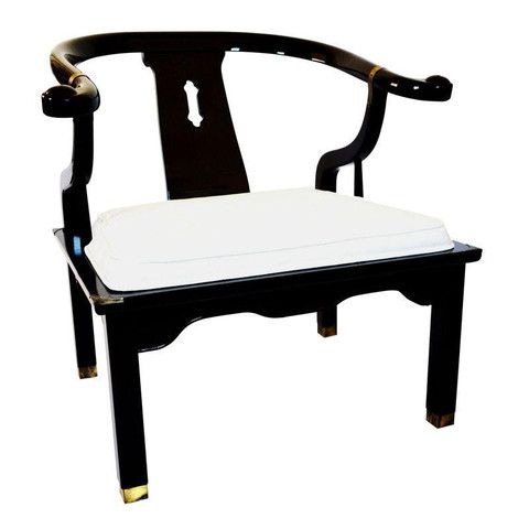 Hollywood Regency - Baker era/James Mont style black and gold chair by Century Chair Company