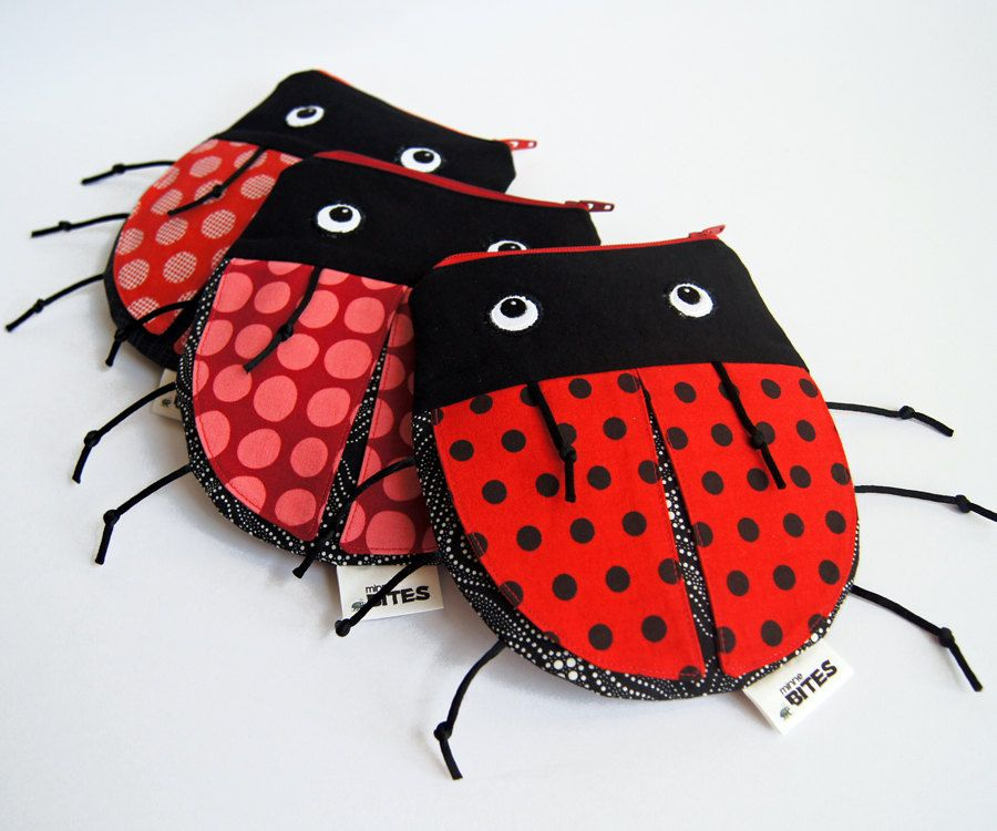 Ladybug Zipper Pouch - Cute Bag Valentine's Gift - Crayon Holder Red Purse: Pink Spotted Ladybug Pouch. $30.00, via Etsy.