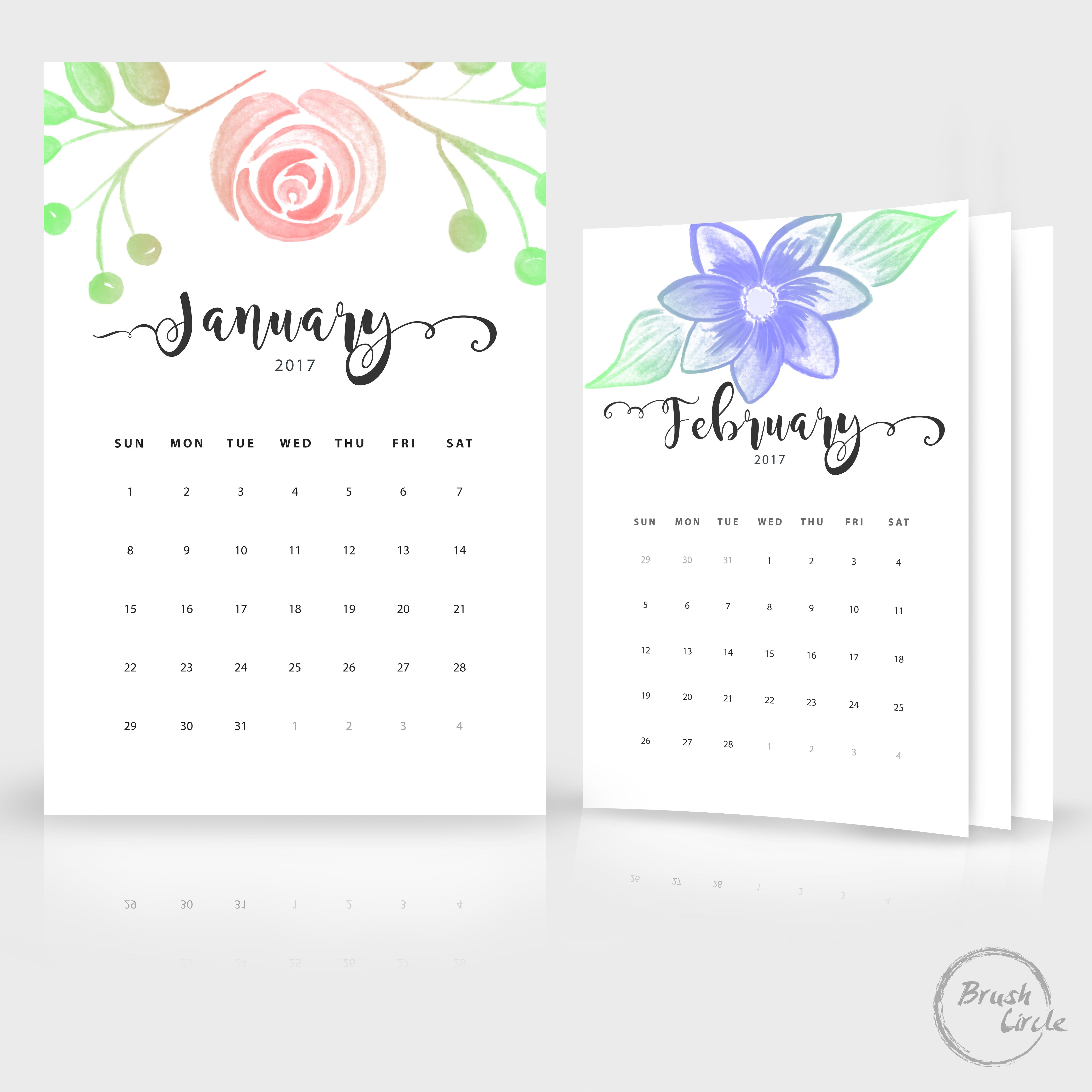 printable monthly calendar template 2018