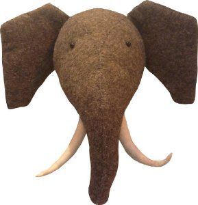 Elephant Wall Decor Felt Soft Animal Head Nursery Art Co Uk Kitchen Home