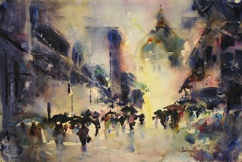 Watercolor Cityscape Contemporary Painting Watercolor