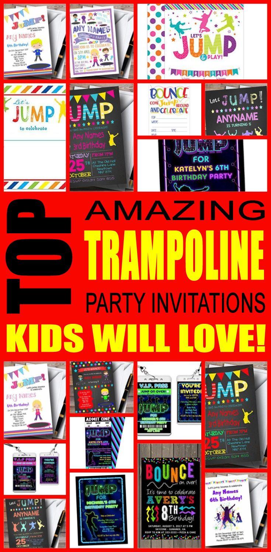 Trampoline Party Invitation Ideas | Trampoline party, Trampolines ...