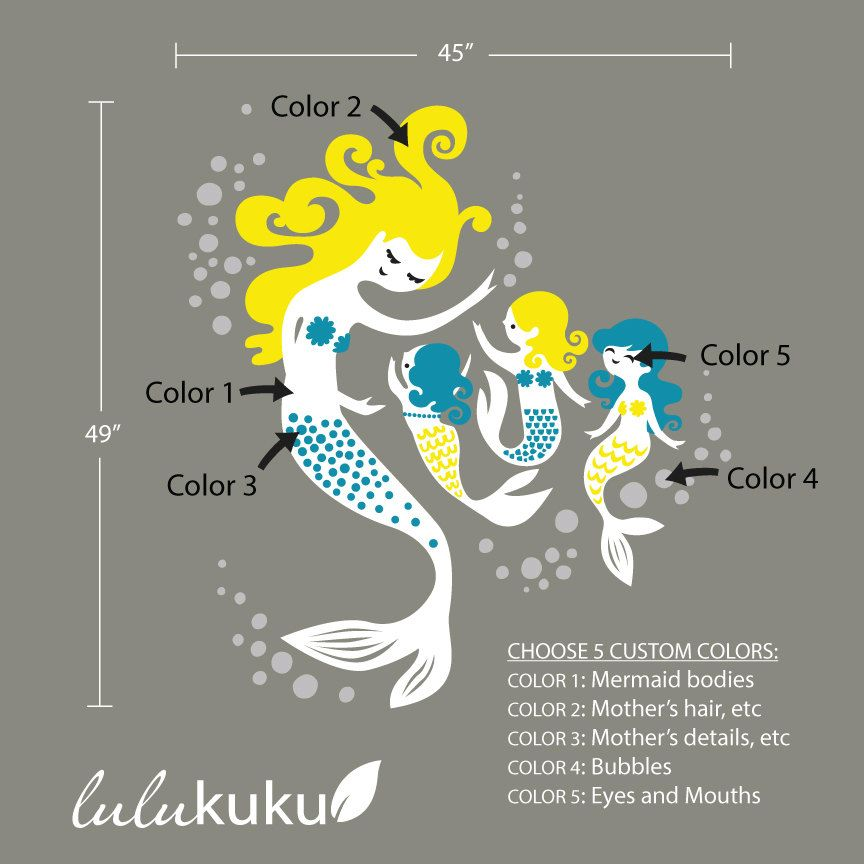 Mermaid Wall Decals Wall Decor for your Little by Lulukuku