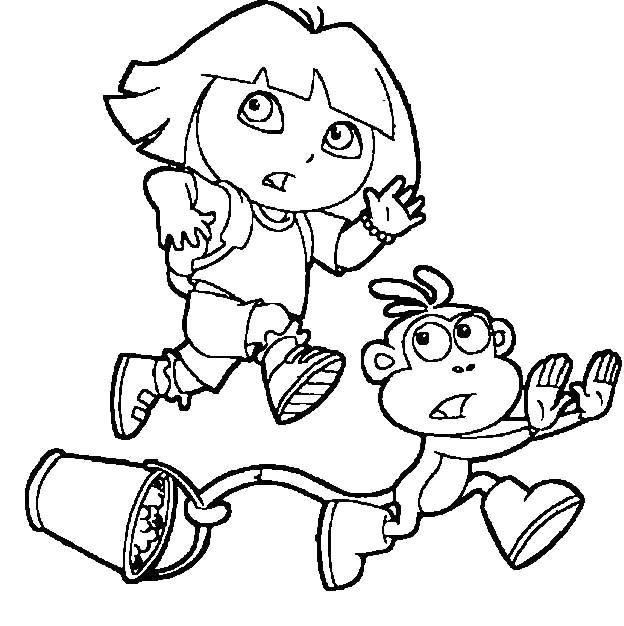 Dora And Boots Running Coloring Pages