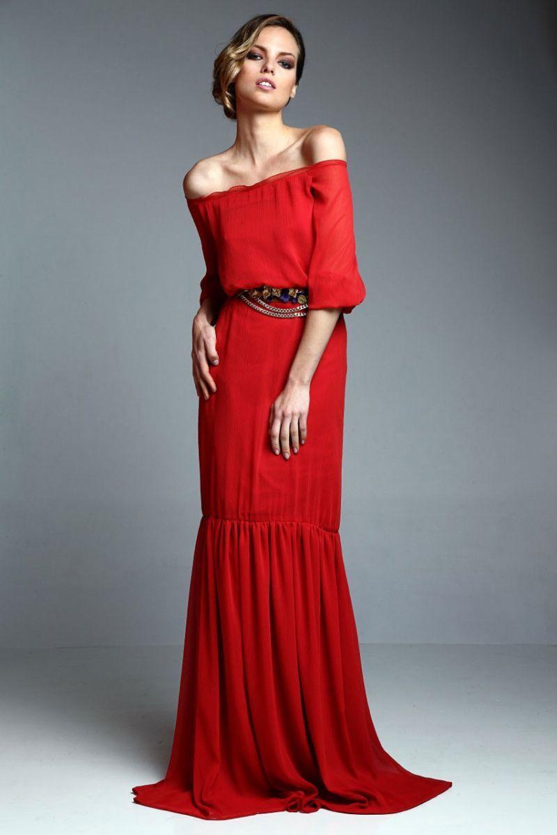 vestido largo con escote barco y falda plisada color rojo teja de ...