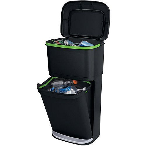 Rubbermaid Double Decker 2 In 1 Recycling Modular Bin With LinerLock    Walmart.com