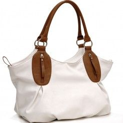 2 Tone designer Inspired shoulder bag (White) | Michael kors