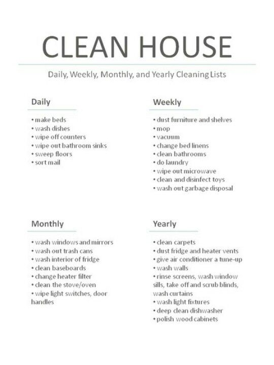 list for cleaning house